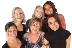 diverse smiling women