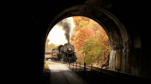 train going into tunnel